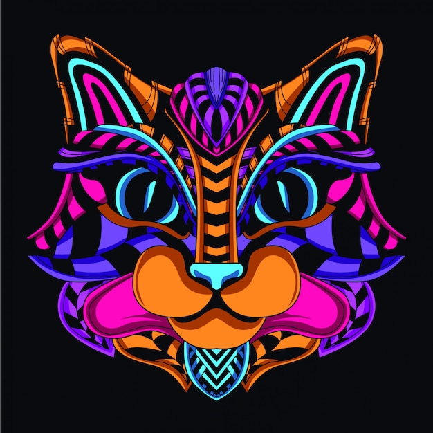 Decorative cat head from glow neon color