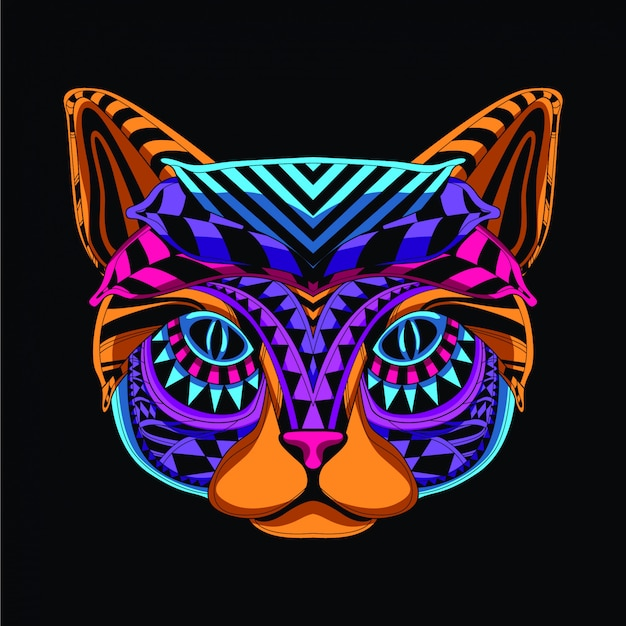 Decorative cat in neon color