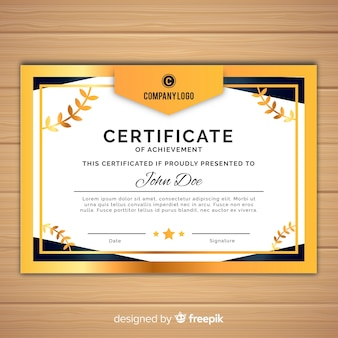 Decorative certificate template with golden elements