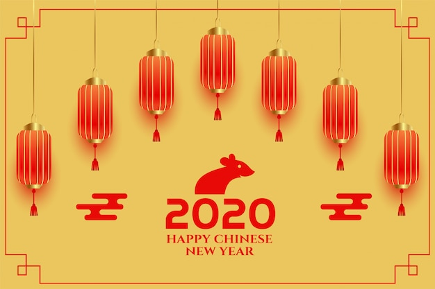 Decorative chinese new year 2020 greeting background
