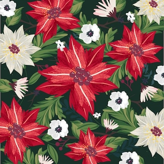Decorative christmas background with flowers