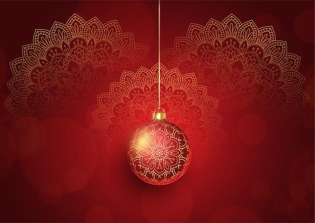 Декоративный новогодний фон с подвесной безделушкой и дизайном мандалы