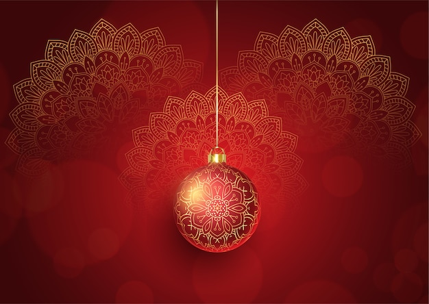 Decorative christmas background with hanging bauble and mandala design