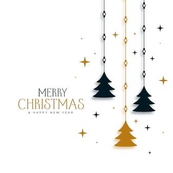 木と星と装飾的なクリスマスの背景