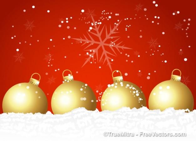 Decorative christmas balls on red