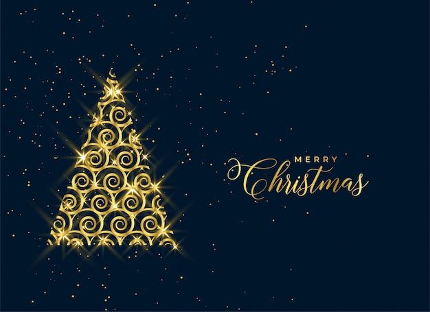 Декоративная новогодняя золотая елка сверкает фон
