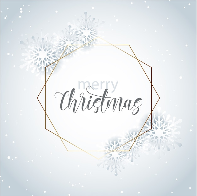 Decorative christmas greeting card with gold frame and snowflake design