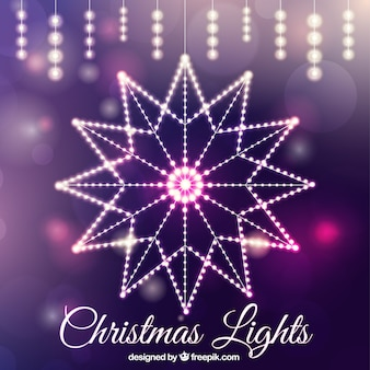 Decorative christmas lights with abstract background