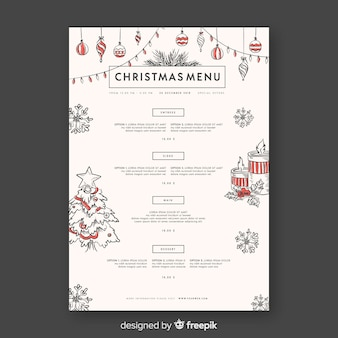 Decorative christmas menu design