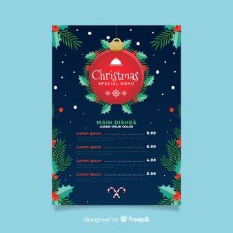 装飾クリスマスメニューテンプレート
