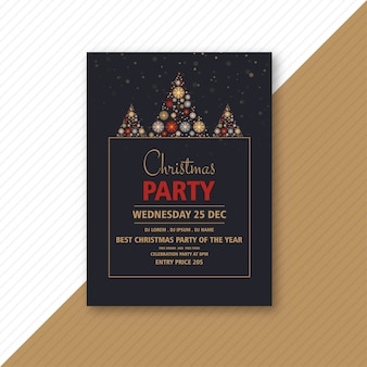 Decorative christmas party flyer with creative snowflakes