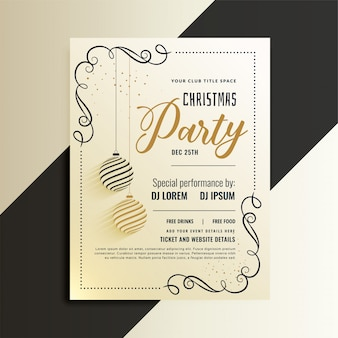 Decorative christmas party flyer with creative xmas ball