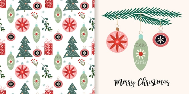 Decorative christmas set with seamless pattern and greeting card