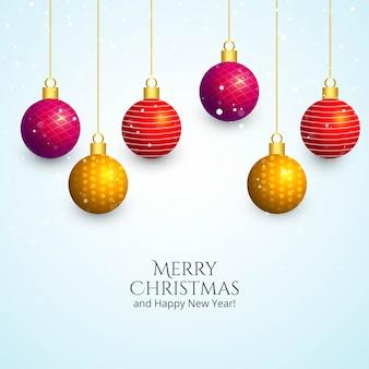 装飾的なクリスマスの光沢のあるボールのホリデーカードの背景