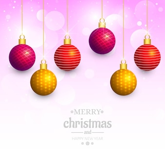 Decorative christmas shiny balls holiday card background