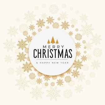 Золотая праздничная открытка из декоративных рождественских снежинок