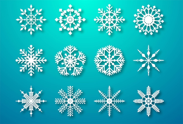 Decorative christmas snowflakes set elements