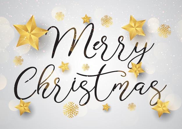 ゴールドスターと装飾的なクリスマスのテキストの背景