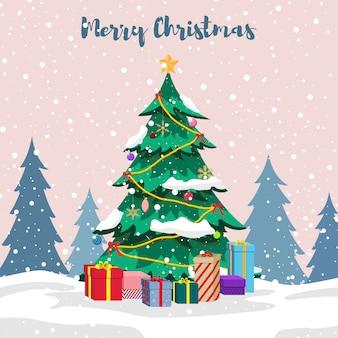 장식 크리스마스 트리와 눈 속에서 선물