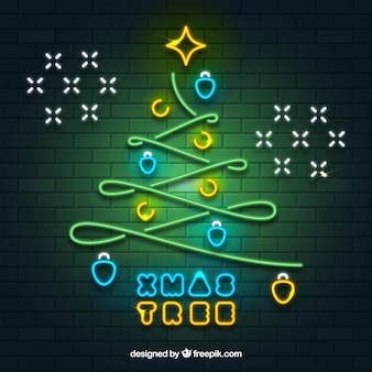 ネオンライトの装飾的なクリスマスツリーの背景