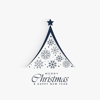 Decorative christmas tree made with snowflakes background