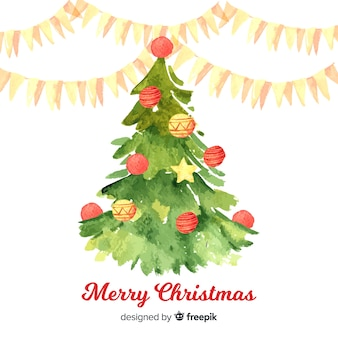 Decorative christmas tree in watercolor style