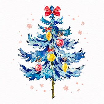 Decorative christmas tree watercolor style