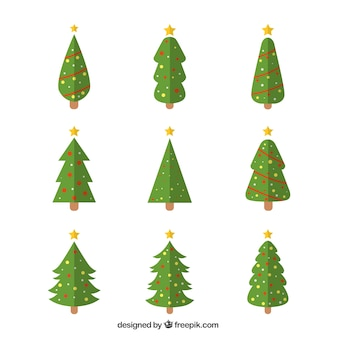Decorative christmas trees in geometric style