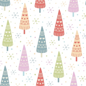 Decorative christmas trees seamless pattern.