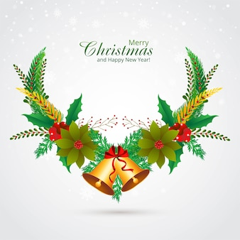 Decorative christmas wreath holiday card background
