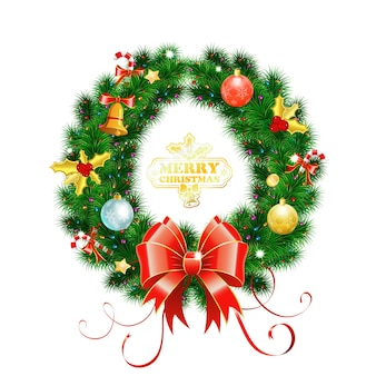Decorative christmas wreath with bow, candy, baubles and decoration element. vector illustration isolated christmas wreath