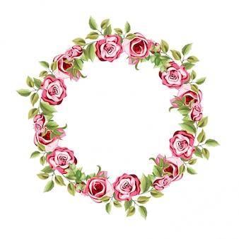 꽃 장식 원형 프레임 및 나뭇잎 장식