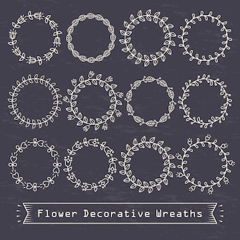 Decorative circles with dots and lines