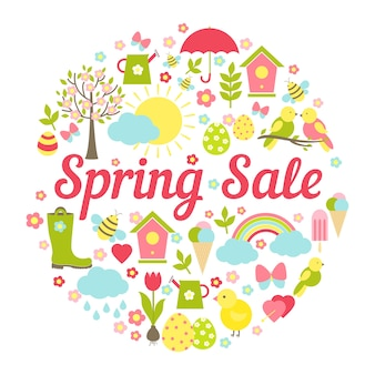 Decorative circular spring sale with a busy vector design depicting symbolic springtime favourites  easter and the weather in fresh pastel colors for business marketing and advertising  on white