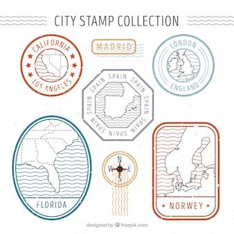 복고 스타일 장식 도시 우표