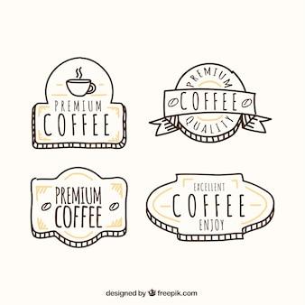 手描き風の装飾コーヒーバッジ