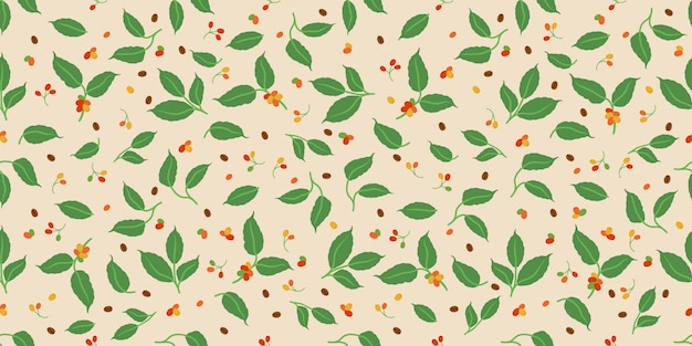 Decorative coffee berry and leaves seamless pattern