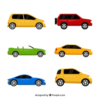 Decorative collection of colored vehicles