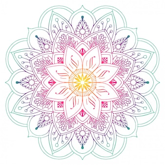 Decorative colored mandala in peach and green colors. drawing lines. plant motifs