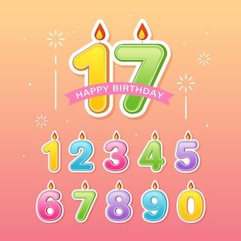 装飾的なカラフルな誕生日番号のテキスト