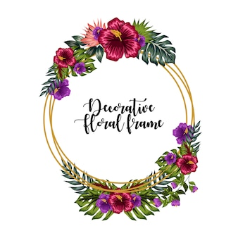 Decorative colorful floral frame ornament