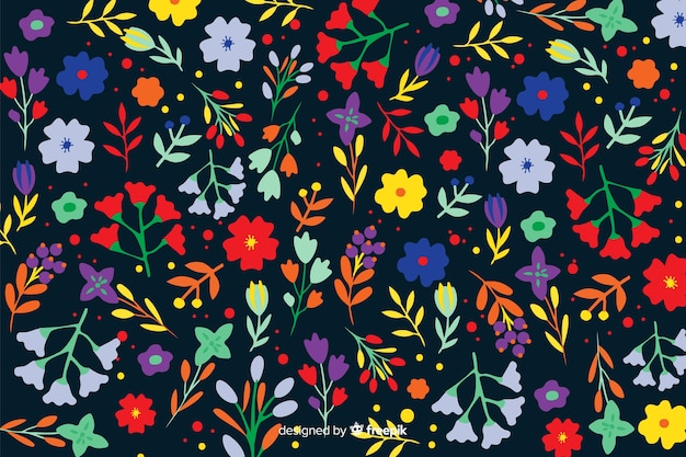 Decorative colorful flowers and leaves background