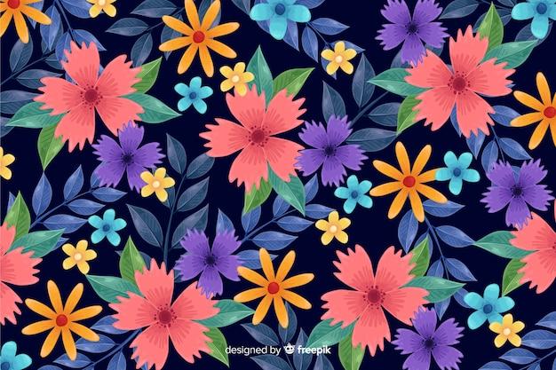 Decorative colorful flowers wallpaper