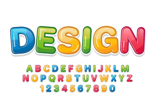 Decorative colorful font and alphabet