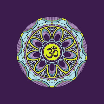 Decorative colorful mandala pattern with om symbol.