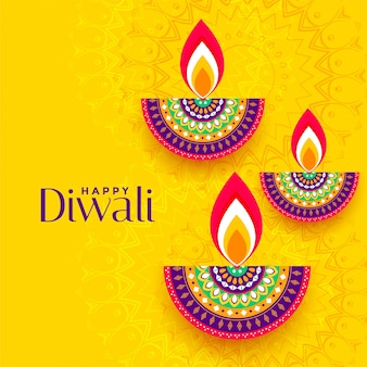 Decorative colorful three diya yellow