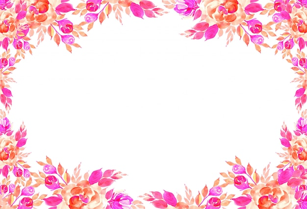 Decorative colorful watercolor flowers card background