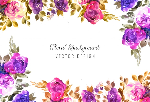 Decorative colorful wedding floral frame background