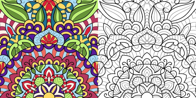 Decorative colouring book page for adults and children