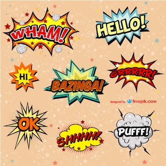 Decorative comic book onomatopeyas